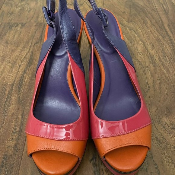 Boden Patent Leather Slingback Colorblock Wedge 6